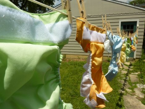 Diapers on the clothesline