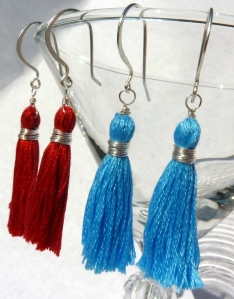Crimson and blue tassel earrings