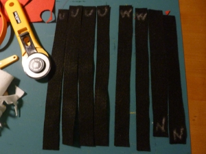 4 upper arm pieces (to be joined into 2 strips), 2 wrist pieces, 2 neck pieces (to be joined into 1)